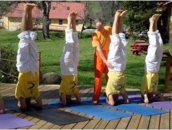 Teaching Headstand outdoors