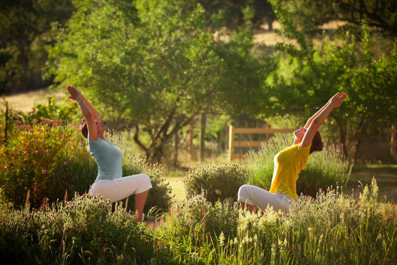 People often practice Yoga outdoors on beautiful landscape of he Yoga Farm.