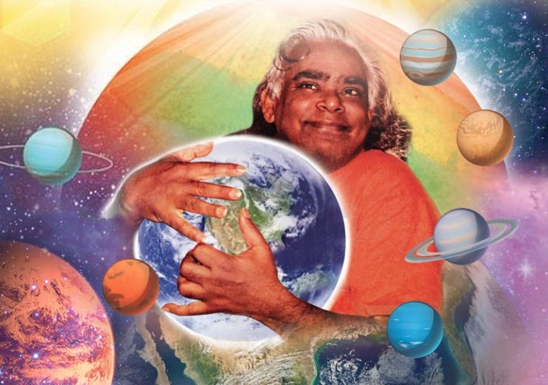 Swami Vishnudevananda holding the earth with planets and universe surrounding him